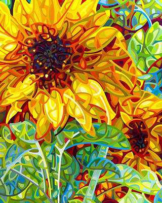Sunflower Art Painting - Summer In The Garden by Mandy Budan