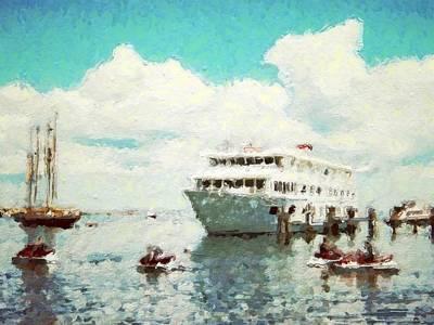 Digital Art - Summer Jet Skis In Harbor - Horizontal by Lyn Voytershark