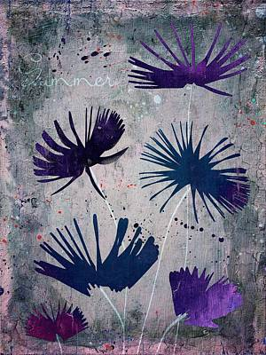 Purple Flowers Digital Art - Summer Joy - S25b by Variance Collections