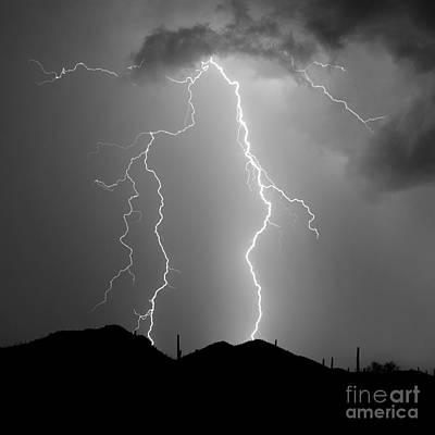 Lightnings Of Arizona Photograph - Summer Lightning In Shades Of Grey by Douglas Taylor