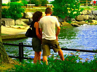 Summer Along The Canal Painting - Summer Lovers Romantic Couple At Waters Edge Lachine Canal Montreal Summer Scene Art Carole Spandau by Carole Spandau