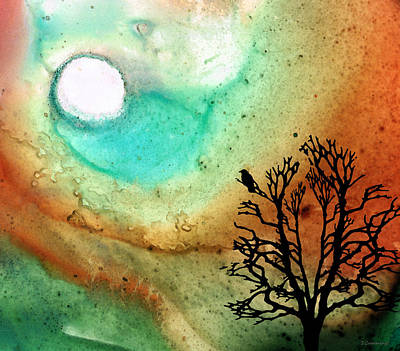 Fantasy Tree Art Mixed Media - Summer Moon - Landscape Art By Sharon Cummings by Sharon Cummings