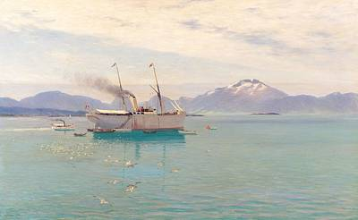 Flying Seagull Painting - Summer Morning At Molde, 1892 by Johannes Martin Grimelund