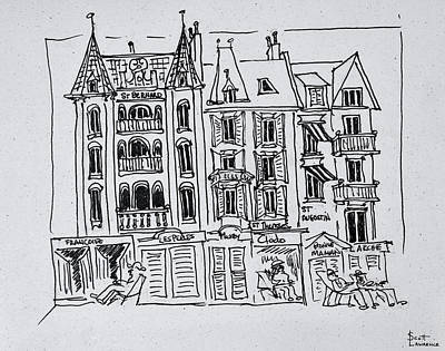 Pen And Ink Drawing Photograph - Summer On The Boardwalk, Wimereux by Richard Lawrence