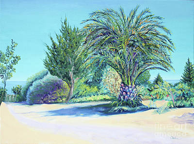 Painting - Summer Palm Tree In Garden By The Sea by Asha Carolyn Young