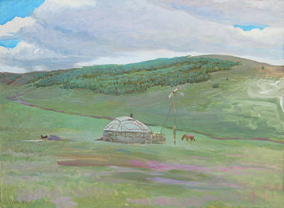 Painting - Summer Pasture -west Ujumchin Banner by Ji-qun Chen