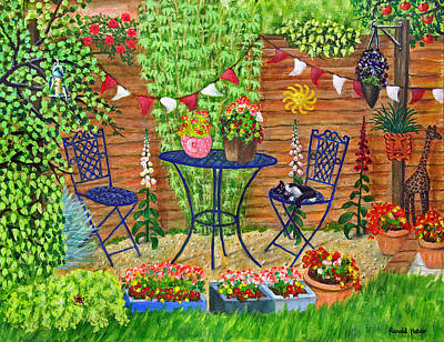 Cat Painting - Summer Patio by Ronald Haber