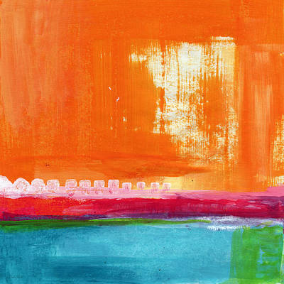 Bright Color Painting - Summer Picnic- Colorful Abstract Art by Linda Woods