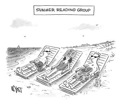 Lounge Drawing - Summer Reading Group -- Three Beach Goers Lounge by Christopher Weyant