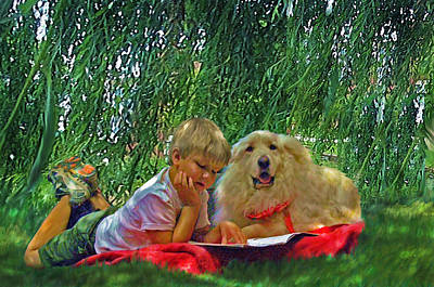 Big Dog Painting - Summer Reading by Jane Schnetlage