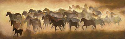 Horses Stampede Painting - Summer Remuda by Roseann Munger