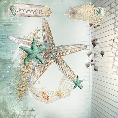 Summer Sea Treasures  Art Print by Debra  Miller