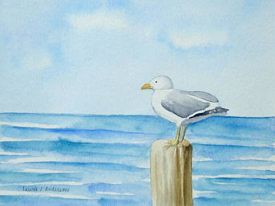 Painting - Summer Seagull by Laurie Anderson