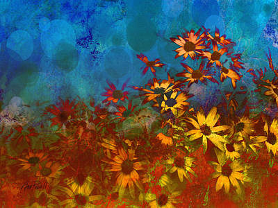 Blue And Red Painting - Summer Sizzle Abstract Flower Art by Ann Powell