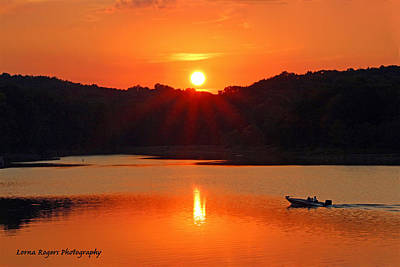 Photograph - Summer Star Burst Sunset With Signature by Lorna Rogers Photography