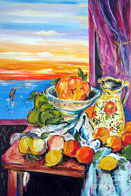 Fruit Bowl Window Painting - Summer Still Life Alla Cezanne by Roberto Gagliardi