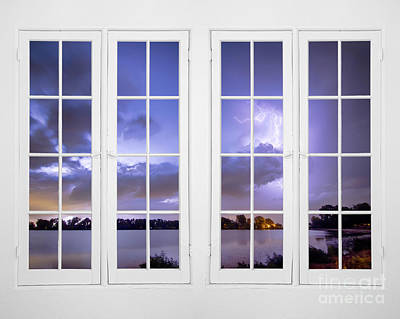 Lightening Photograph - Summer Storm 32 Pane Lake Window View  by James BO  Insogna