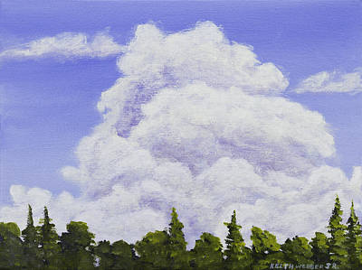 Spring Storm Painting - Summer Storm Clouds Over Maine Forest by Keith Webber Jr