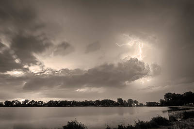 Photograph - Summer Storm In Black And White Sepia by James BO Insogna