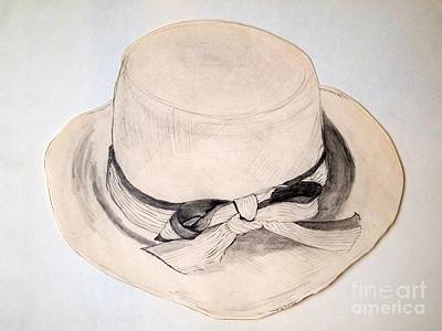 Straw Hat Drawing - Summer Straw by Nancy Kane Chapman