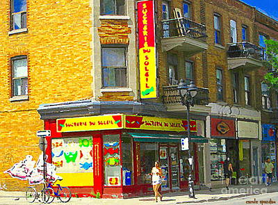 Candy Store Painting - Summer Stroll Sucrerie Du Soleil Candy Biscuiterie Chocolate Shop Montreal City Scene Carole Spandau by Carole Spandau