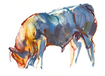 Cow Drawing - Summer Sunset by Mark Adlington