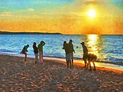 Digital Art - Summer Sunset At The Beach by Digital Photographic Arts