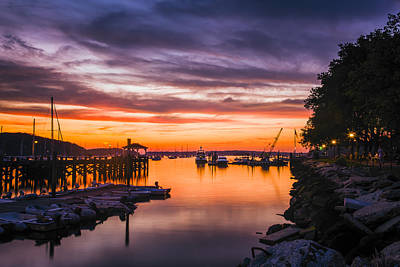 New York Harbor Photograph - Summer Sunset by Mike Lang