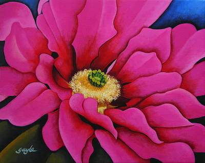 Cactus Painting - Summer Surprise by Gayle Faucette Wisbon