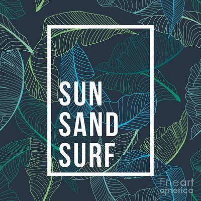 Summer Vacation Wall Art - Digital Art - Summer Text Palm by Matthew-rk
