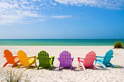 Reclining Chairs Photograph - Summer Vacation Beach by ELITE IMAGE photography By Chad McDermott