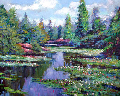 Pond Painting - Summer Waterlilies by David Lloyd Glover