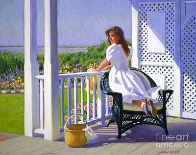 Side Porch Painting - Summer Whites by Candace Lovely