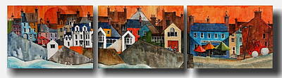 Painting - Summercove Triptych Cork by Val Byrne