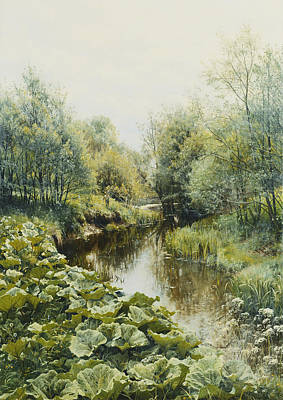 Naturalism Painting - Summerday At The Stream by Peder Monsted