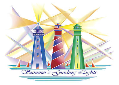 Painting - Summer's Guiding Lights by Nancy Griswold