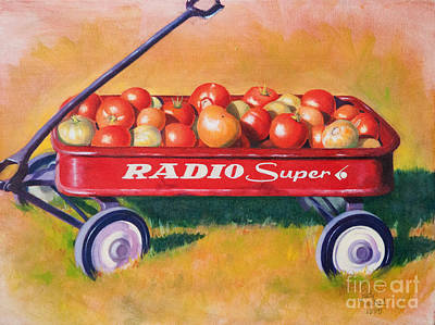 Little Red Wagon Painting - Summer's Last Harvest by Judy Neebel