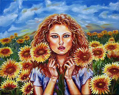 Summers Sunflowers  Art Print by Yelena Rubin