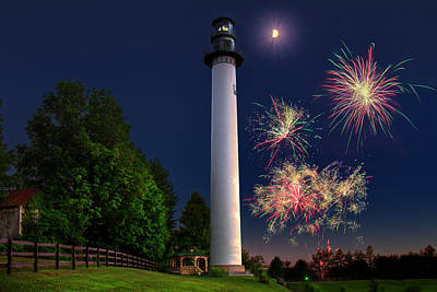 Photograph - Summersville Lake Lighthouse Fireworks by Mary Almond