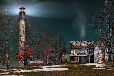 Painting - Summersville Lake Lighthouse Mount Nebo Wv by Mary Almond