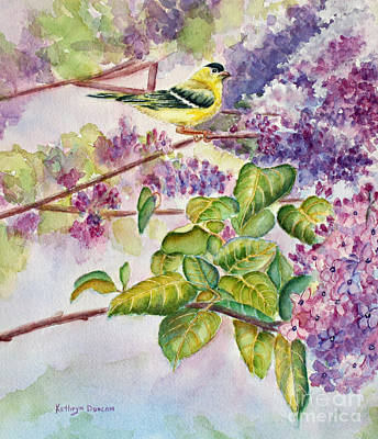 Goldfinch Painting - Summertime Arrival by Kathryn Duncan