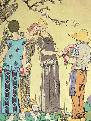 Country Setting Painting - Summertime Dress Designs By Paul Poiret by French School