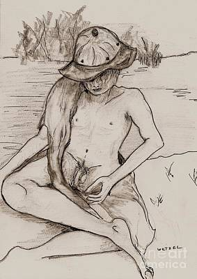 Male Nude Drawing Drawing - Summertime Sometime by Joseph Wetzel