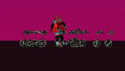 Sumo Digital Art - Sumo And Orchids In A Row by Amanji jill Duke