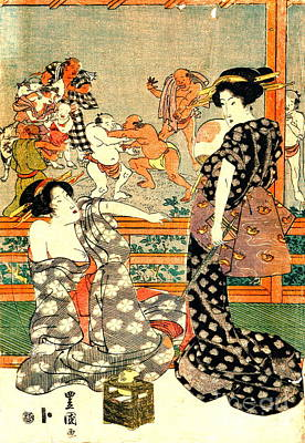 Sumo Wrestling - Full Moon Diptych 1818 Right Art Print