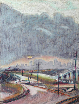 Painting - Sun And Clouds Over San Francisco With West Oakland Overpass And Tracks by Asha Carolyn Young