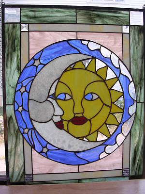 Glass Art - Sun And Moon by Karin Thue
