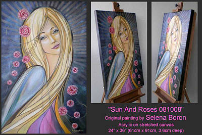 Art Print featuring the painting Sun And Roses 081008 Comp by Selena Boron