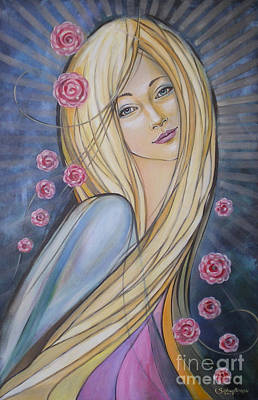 Painting - Sun And Roses 081008 by Selena Boron