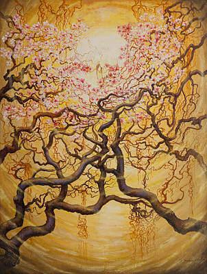 Sakura Painting - Sun And Sakura by Vrindavan Das